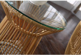 Wohles Furnir PET aus Weiden geflochtenes rundes Luxuxim freiensofa-Bett T-080