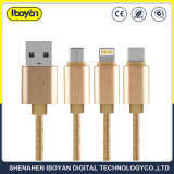3 in 1 Typ-c/Mikro/Blitz USB Daten-Aufladeeinheits-Kabel