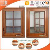 Foldable 불안정한 손잡이 및 가득 차있는 분할된 빛을%s 가진 미국식 목제 알루미늄 여닫이 창 Windows