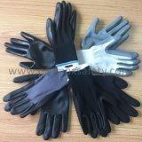 красным перчатки 13G связанные полиэфиром с черный окунать нитрила