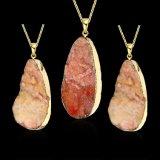 Geplateerde Halsband van de Tegenhanger van de Vorm van de Daling van de Steen van het Kristal van de Juwelen van de manier de Natuurlijke Oranje Goud