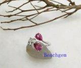 宝石類ピンクのトパーズの純銀製のリング(R0277)