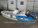 4.2m Rib420b Boot mit CER Fiberglas-steifer Rumpf-aufblasbarem Boot mit Außenbordbewegungsfischerboot