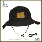 Custom Plain Leather Patch Cotton Balde Hat com corda