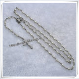 Il rosario religioso di plastica borda la collana con la traversa (IO-cr128)