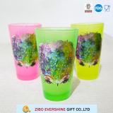 16oz het zwarte Lichtrose Glas van de Pint met de Druk van de Folie