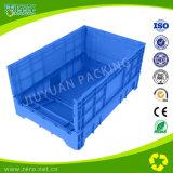 プラスチック木枠メーカーの青いカラー折りたたみプラスチック移動容器