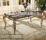 Jogo perfeito moderno da HOME da mobília do tapete do teste padrão da opinião do projeto de prata superior de mármore da tabela de jantar do aço inoxidável