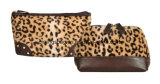 Women's Leopard Pattern beauté Cosmétique Fausse Fourrure Sacs, sacs à maquillage