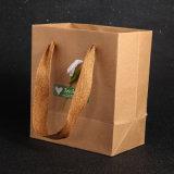 꽃 스티커를 가진 좋은 품질 Kraft 브라운 작은 서류상 쇼핑 선물 부대