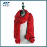 Шарф зимы Muchique связанный шарфом с Pompoms греет мягко