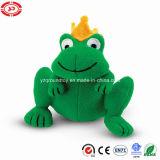 Vert de peluche reposant le Roi mignon bourré par Velboa mou Frog Toy