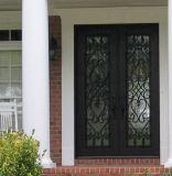 Porta de entrada feita sob encomenda do dobro do ferro feito com vidro Tempered