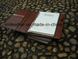 Brown Hard Cover Leather Agenda Holder Binder com Notepad