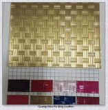 Fashion Pattern Gold Color PU Faux Leather