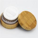 Pot de crème de plastique rond de bambou pour les cosmétiques à l'emballage