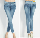 Elegant New Fashion Ladies Refreshing Long De Dentelle Hem Denim Jeans