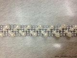 형식 사슬 레이스 트리밍 진주 모조 다이아몬드 둥근 구슬로 만드는 의복 부속품