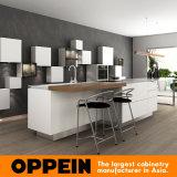 Cabinas blancas de la laca de los muebles de madera modernos de la cocina con la isla (OP16-L21)