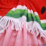Напечатанное арбузом полотенце пляжа Microfiber круглое с Tassels
