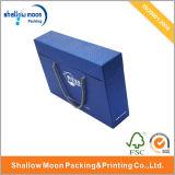 Manija y tapa de joyería caja de embalaje de papel azul (qy150019)