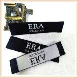 Custom Label tissé damassés tissu noir