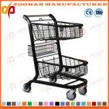 Двойной супермаркет металла корзины регулируя вагонетку магазинной тележкаи металла (Zht195)
