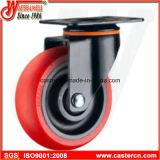 Mittlere Aufgaben-Schwenker-Fußrolle mit rotem TPU Rad