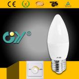 Ampoule d'éclairage LED de Dimmable 3000k du commutateur C37 par l'âne de Ce RoHS