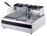 5.5L+5.5L Commercial friteuse électrique en acier inoxydable (2-réservoir, 2-panier)