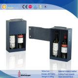 Elegante almacenamiento de embalaje de cuero regalo de madera caja de vino (5853R1)