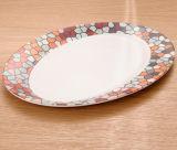 Plaque en bambou de vaisselle de fibre avec l'impression (BC-P1012)