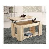 나무로 되는 거실은 조정가능한 저장 선반 커피용 탁자를 위로 든다