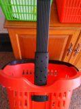 Carrinho de cesta de plástico de mão com duas rodas