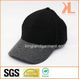 Casquette de baseball grise de qualité de polyester et de laines et noire ordinaire chaude