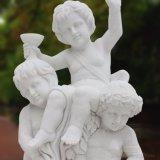 Mármore Natural Espeleologia crianças estátua para Garden Ornament T-6456