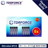 1.5V China Fertigung-Hochleistungsbatterie für Rauch Detetor (R03-AAA 12PCS)