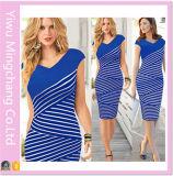 Europa 2016 und Amerika Black and White Striped Plus Size Slimming Pencil Dress