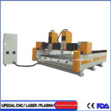 El doble eje Z el doble de los Jefes de CNC máquina de grabado de piedra con mesa de acero