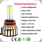 2 años de la garantía de linterna del poder más elevado 100W LED con la linterna y la luz de conducción (9004 9007 9006 9005 9012 881) del coche LED de la MAZORCA de las caras de 4800lm H4 4