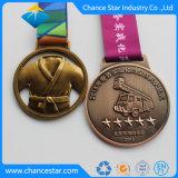 Logotipo de metal em relevo personalizados Medalha de fita do emblema Maker