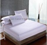 Conjunto del lecho del hotel de la cubierta del Duvet de la hoja de base del hotel del modelo rayado del algodón