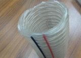 Fibra de PVC e fios de aço reforçado do tubo composto de borracha de transporte transparente