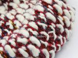 Акрил моды теплый красный и белый трикотажные горловины Шарфа