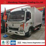 5 carro del rectángulo de Sinotruk HOWO de la tonelada mini con Van Type Cargo