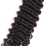 Уток черных волос оптовых человеческих волос волны закрытия шнурка девственницы глубоких индийских естественный