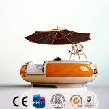 Barco de pesca con sombrilla en la parte superior