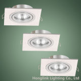 GU10 de aluminio ajustable halógeno MR16 LED cuadrado de Downlight ahuecado