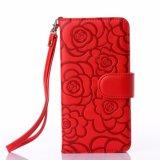 iPhone 8을%s 최신 돋을새김된 빨간 PU 가죽 이동 전화 상자