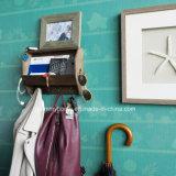 Entrée du décor en bois porte-manteau étagère de rack de courrier avec les crochets